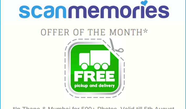 ScanMemories offer free pickup and delivery for Thane and Mumbai
